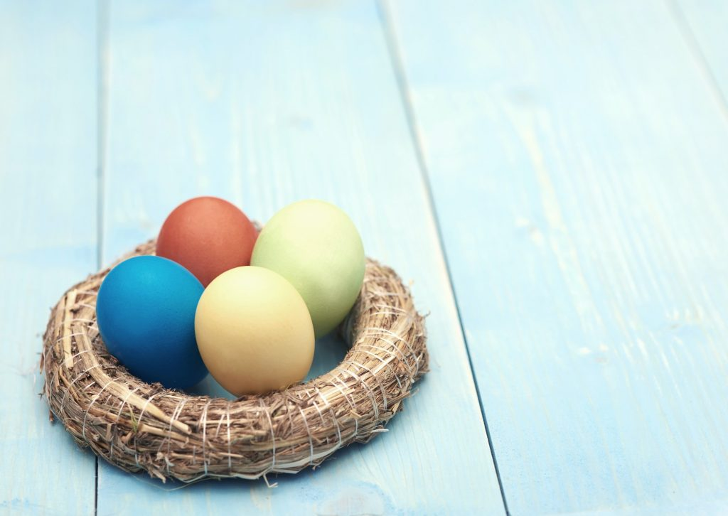 Content of colorful handmade easter eggs