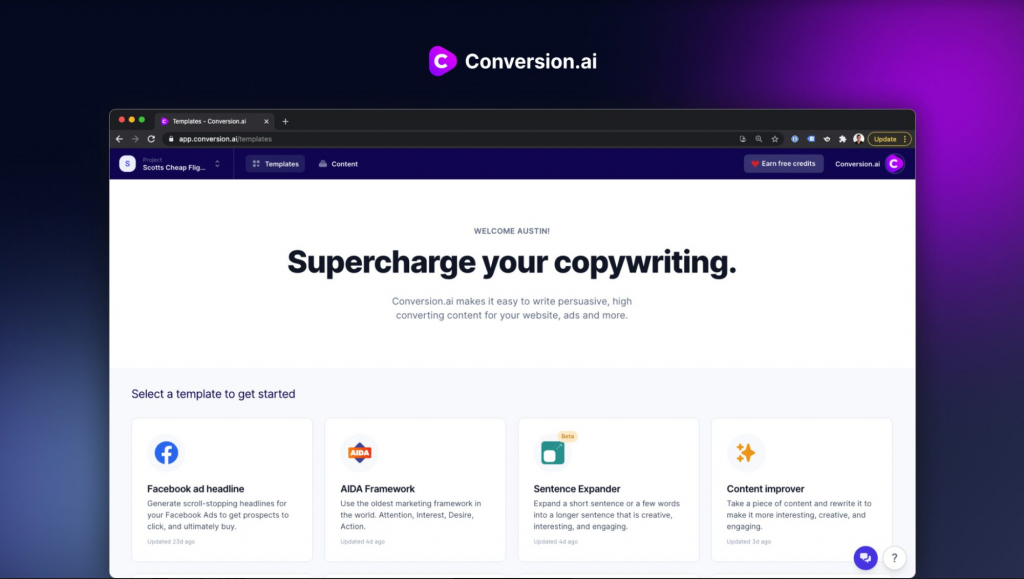 Conversion AI - AI Copywriting Tool to Write High-Converting Content In a Few Minutes